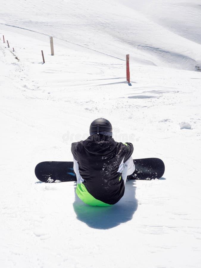 Snowboarder in Kalavrita ski center stock photo