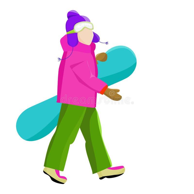 Snowboarder met snowboard in de handen leisure De sport van de winter Vakantie in de bergen stock illustratie