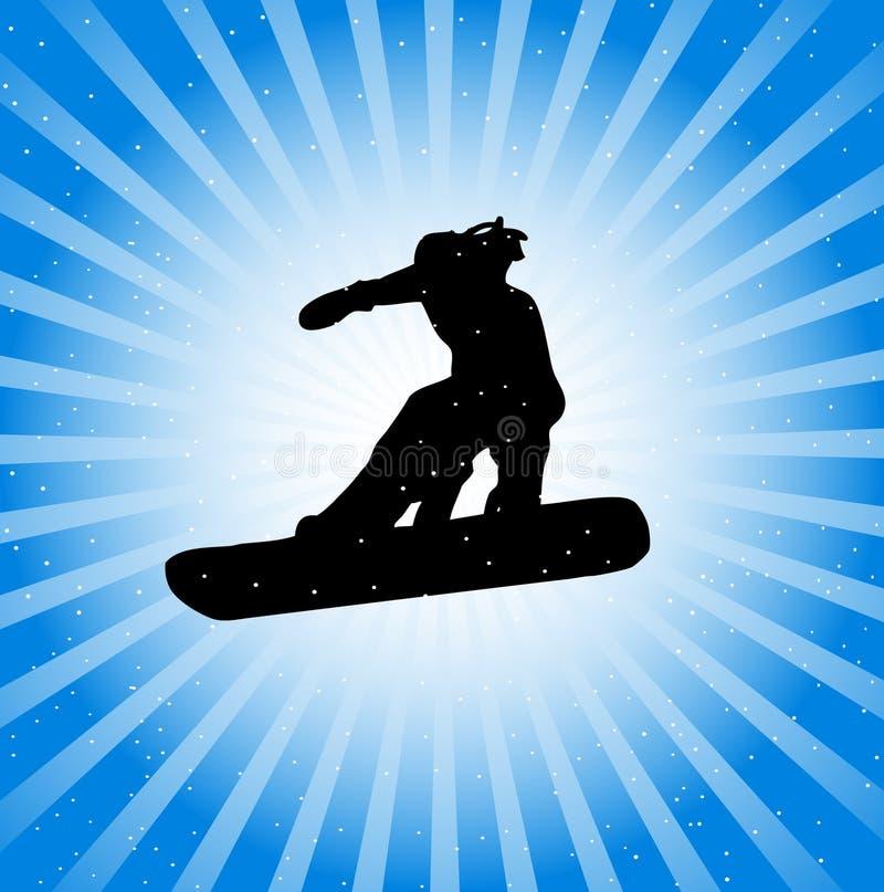 Snowboarder na ação ilustração do vetor