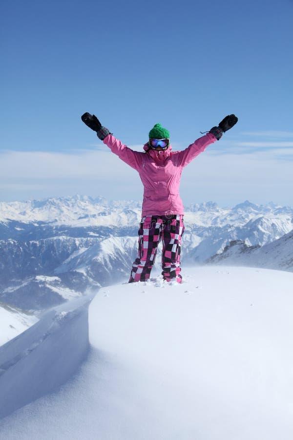 Snowboarder na wierzchołku góra fotografia stock