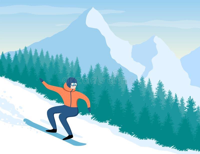 Snowboarder no fundo das montanhas e das árvores ilustração do vetor