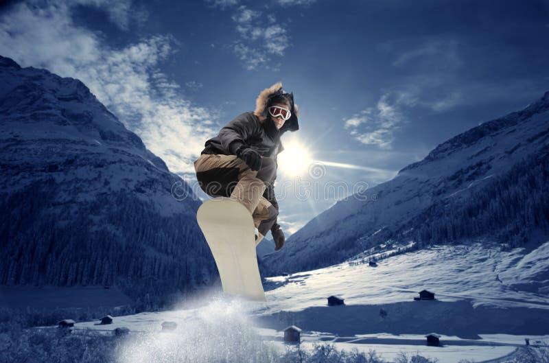 Snowboarder novo foto de stock