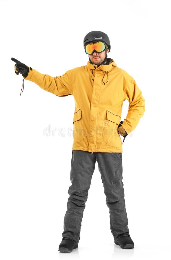 Snowboarder pointing on white stock photo