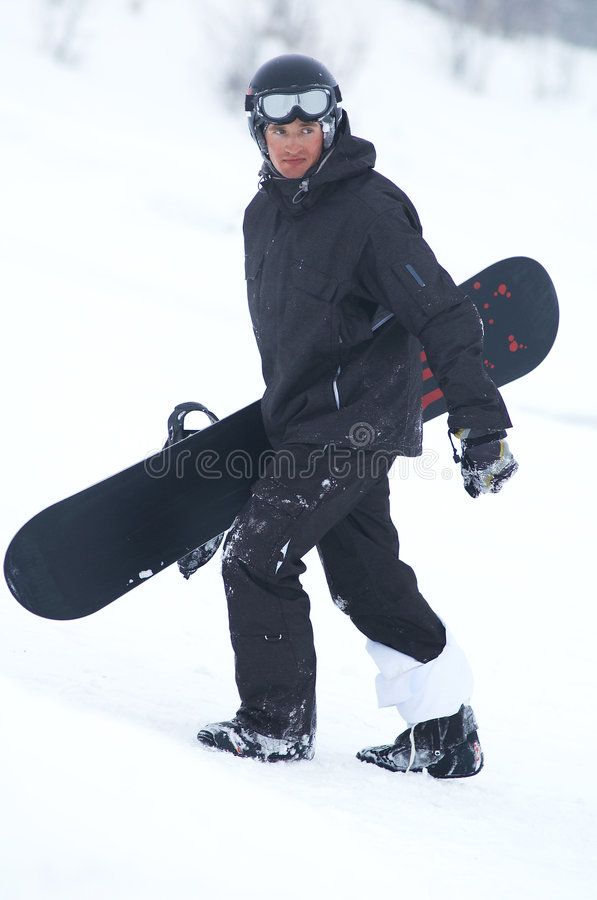 Snowboarder preto imagem de stock royalty free