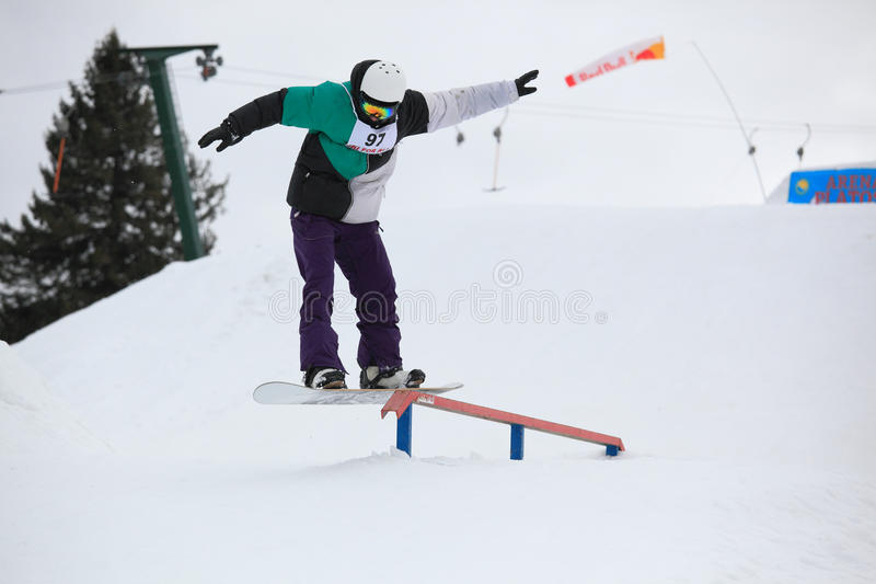 Download Snowboarder Rail Editorial Photo - Image: 28997491