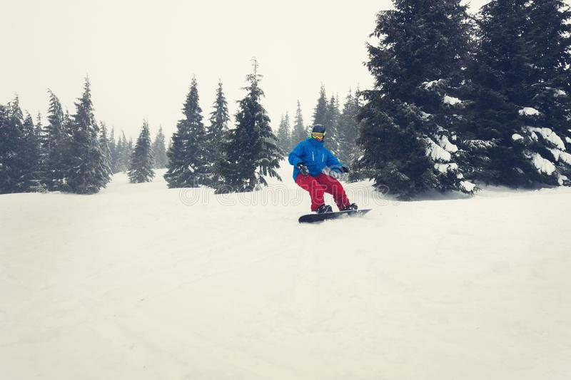 Snowboarder rides in a hard conditions during a blizzard royalty free stock images