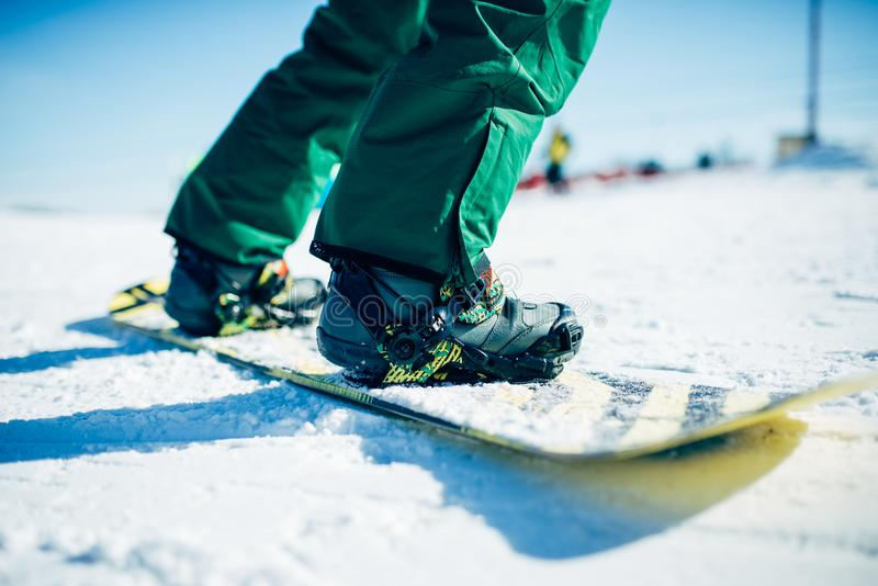 Snowboarder riding a snow hill, extreme sport. Snowboarder riding a snow hill. Winter extreme sport, active lifestyle. Snowboarding in mountains royalty free stock photos