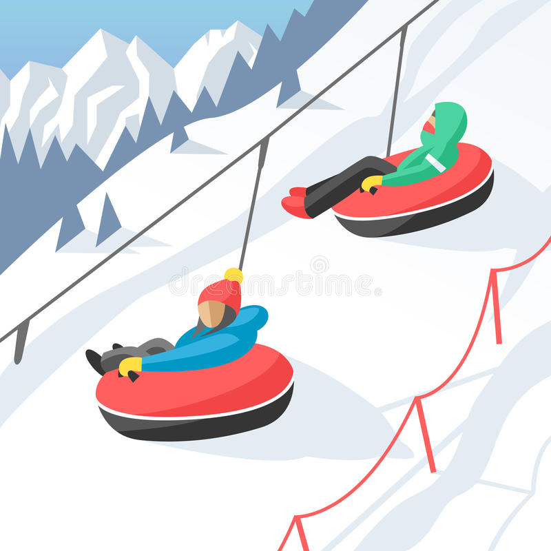 Snowboarder sitting in ski gondola and lift elevators winter sport resort snowboard people rest lifting jump vector vector illustration