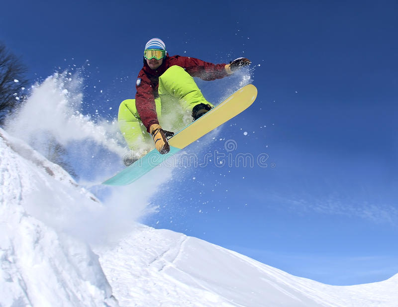 Snowboarder in the sky royalty free stock image