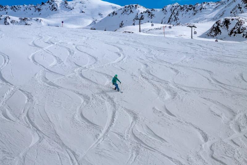 Snowboarder, Solden, Áustria, esporte de inverno extremo fotografia de stock