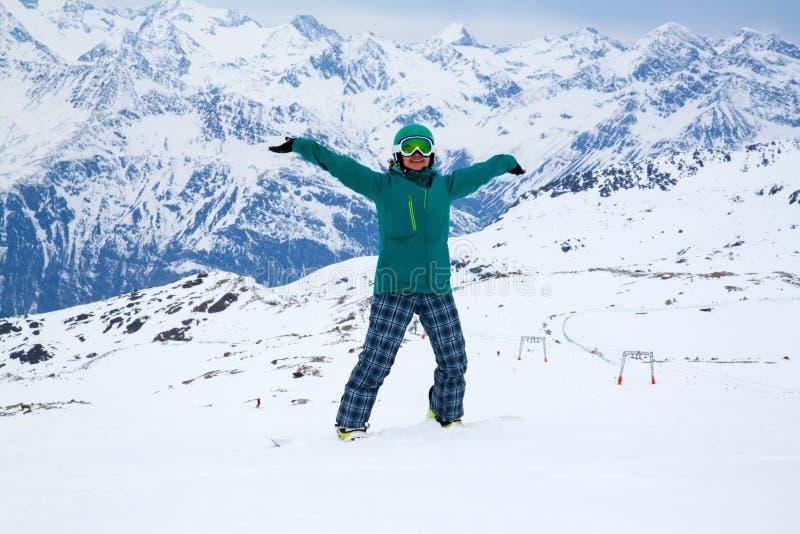 Snowboarder, Solden, Áustria, esporte de inverno extremo imagens de stock