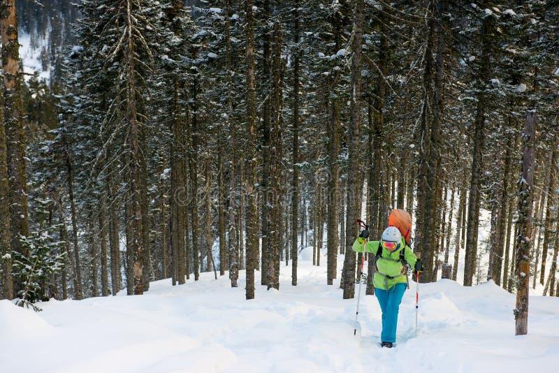 Snowboarder som överst går av berget arkivfoto