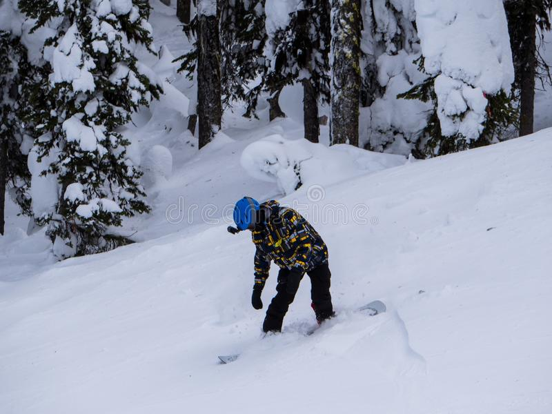 Snowboarder Sticks the Landing off of the Jump. A young athletic snowboarder finds himself in the loose powder after his jump royalty free stock images