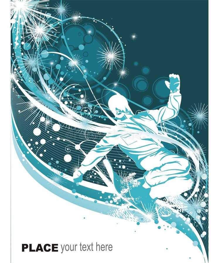 Snowboarder sur le fond de l'hiver illustration de vecteur