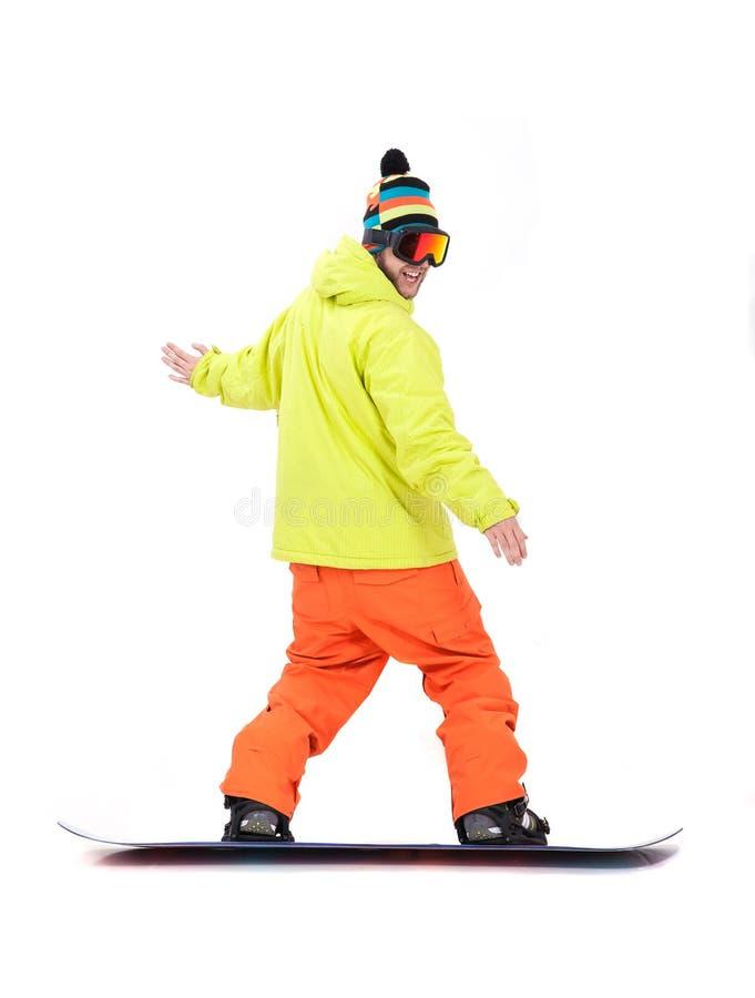 Snowboarder w akci obraz stock