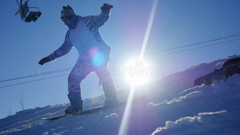 Snowboarderen bär kigurumi av sebran som ritter till och med solen i berg skidar på semesterorten med lensesignalljuseffekter arkivfoto