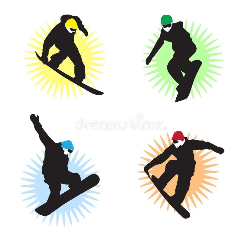 snowboarders royaltyfri illustrationer