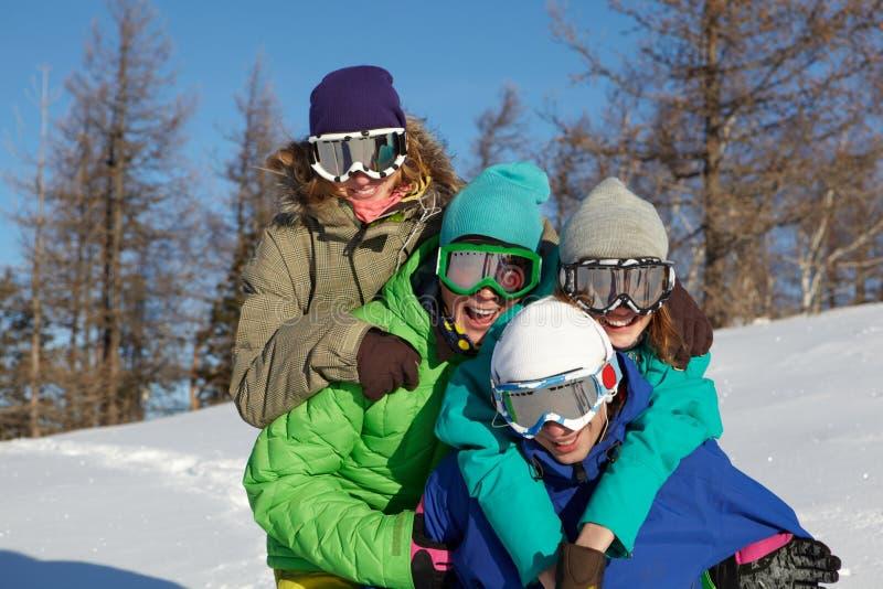 Snowboarders gais photographie stock libre de droits