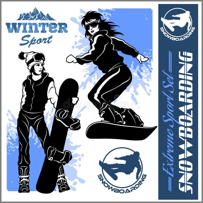 Snowboarders - grupo do vetor Ilustração do vetor ilustração royalty free