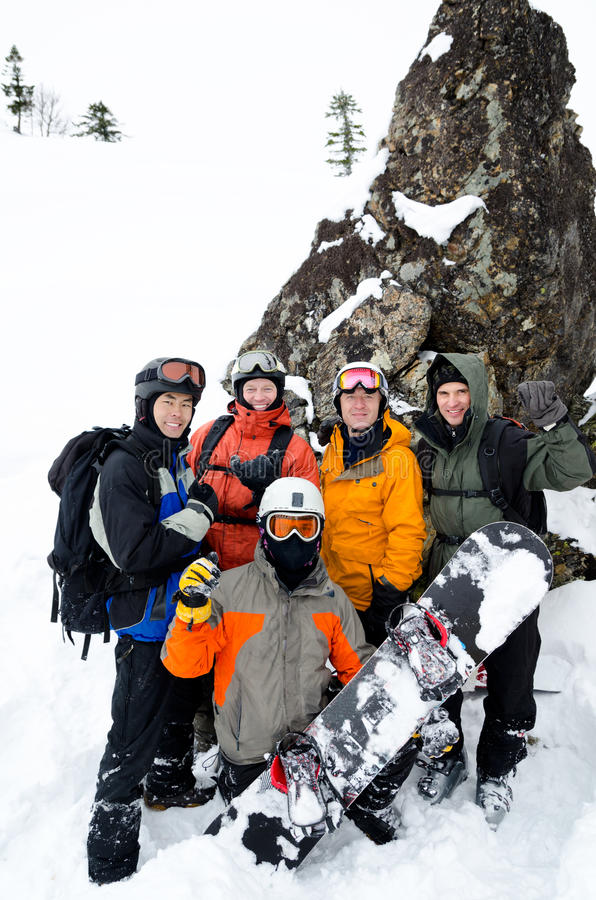 Snowboarders on mountain royalty free stock photos