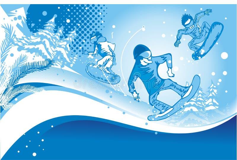 Snowboarders nell'azione royalty illustrazione gratis