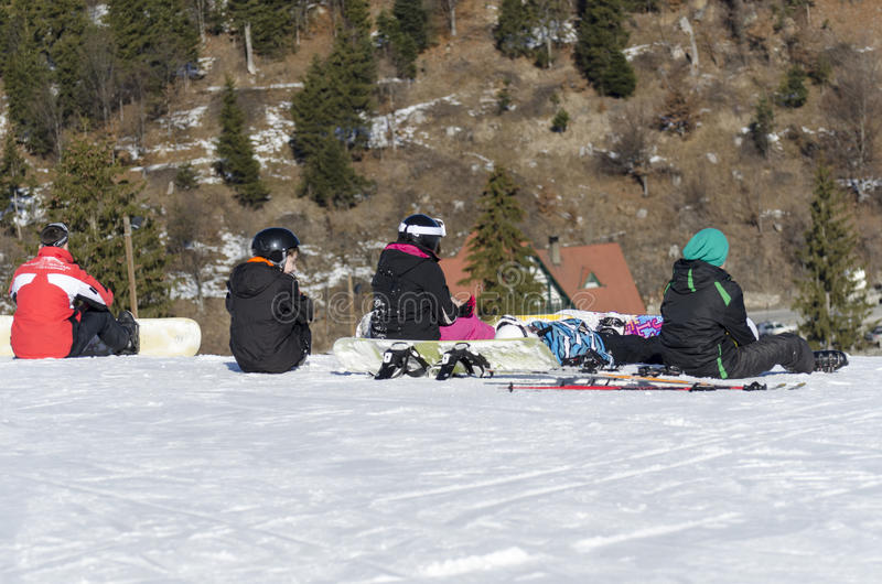 Snowboarders resting royalty free stock photos