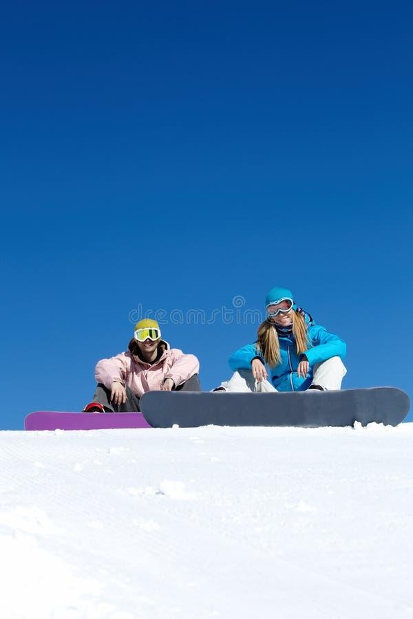 snowboarders två royaltyfri bild