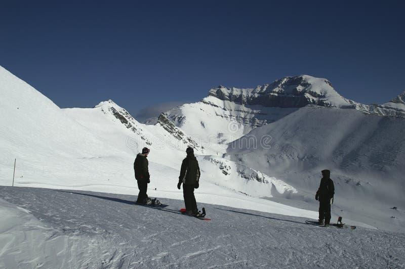 Snowboarders van Blackcomb royalty-vrije stock afbeeldingen