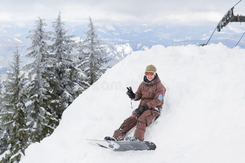 Snowboarderstillstehen lizenzfreie stockfotos