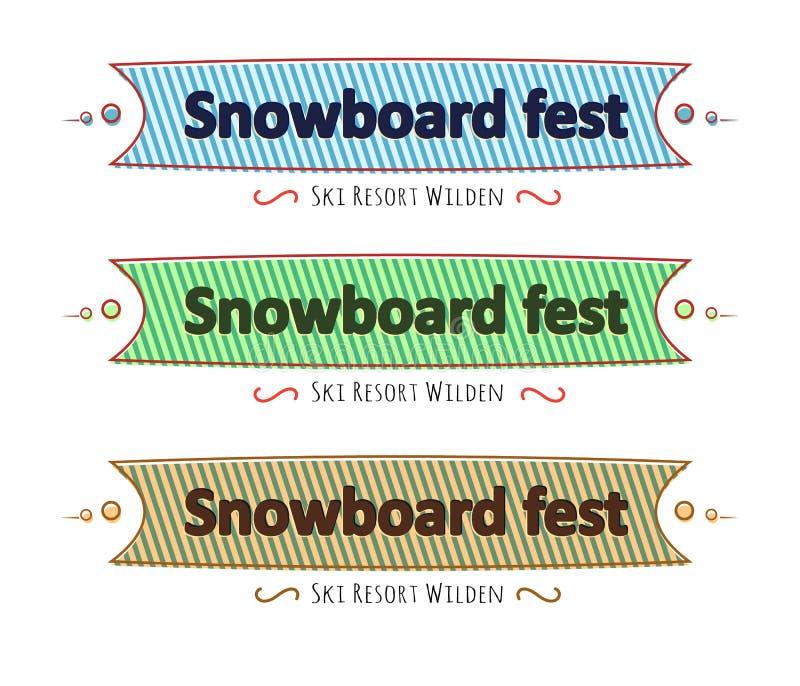 Snowboardfestivaluppsättning av band, hälsningkort, lägenhet stock illustrationer