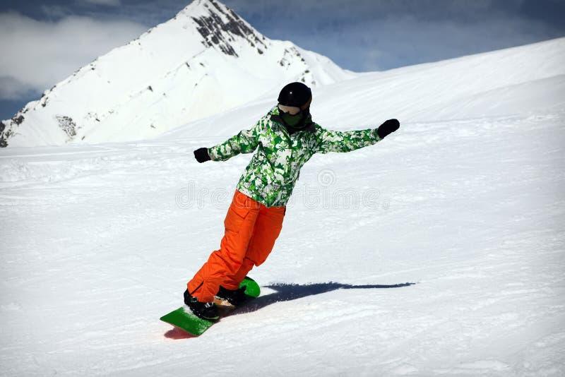Snowboardflicka royaltyfri foto