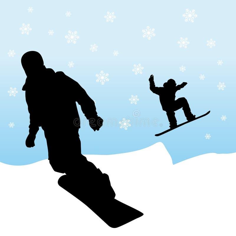 Snowboarding ilustração do vetor