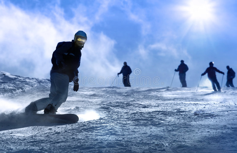 Snowboarding image libre de droits