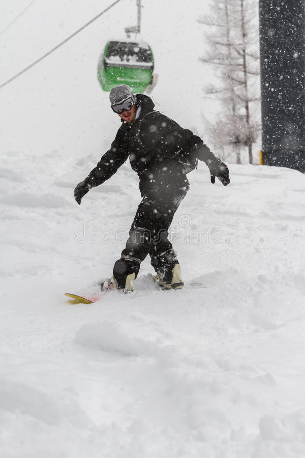 Snowboarding fotografia de stock