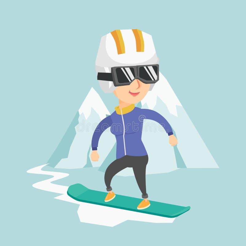 Snowboarding caucasiano nova da mulher ilustração royalty free