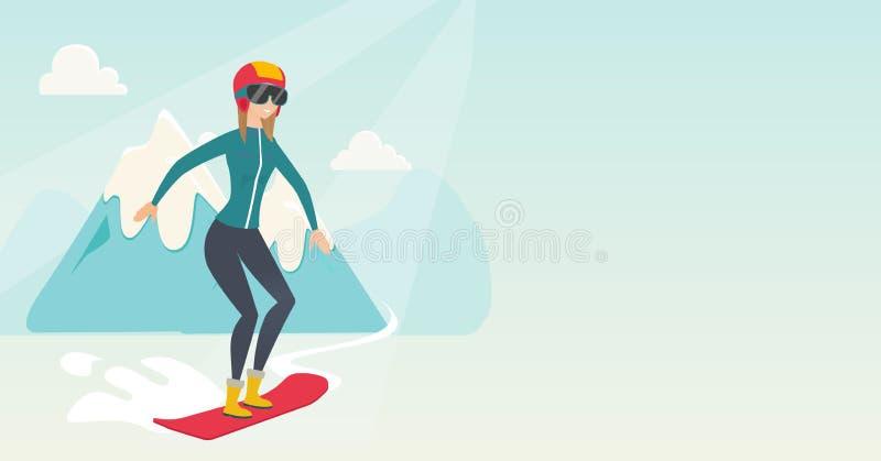 Snowboarding caucasiano nova da mulher ilustração stock