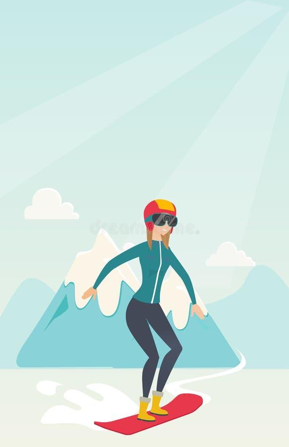 Snowboarding caucasiano nova da mulher ilustração do vetor