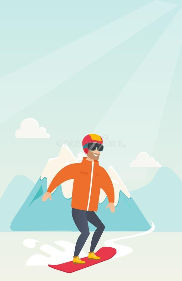 Snowboarding caucasiano nova do homem ilustração do vetor