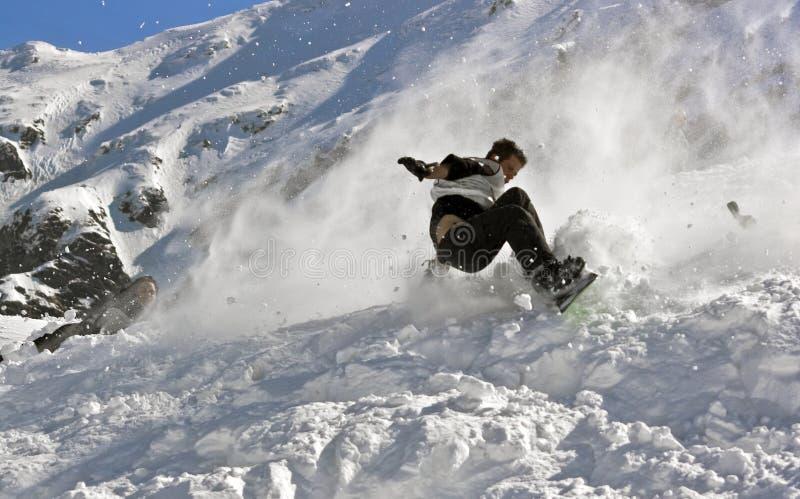 Snowboarding crash royalty free stock image
