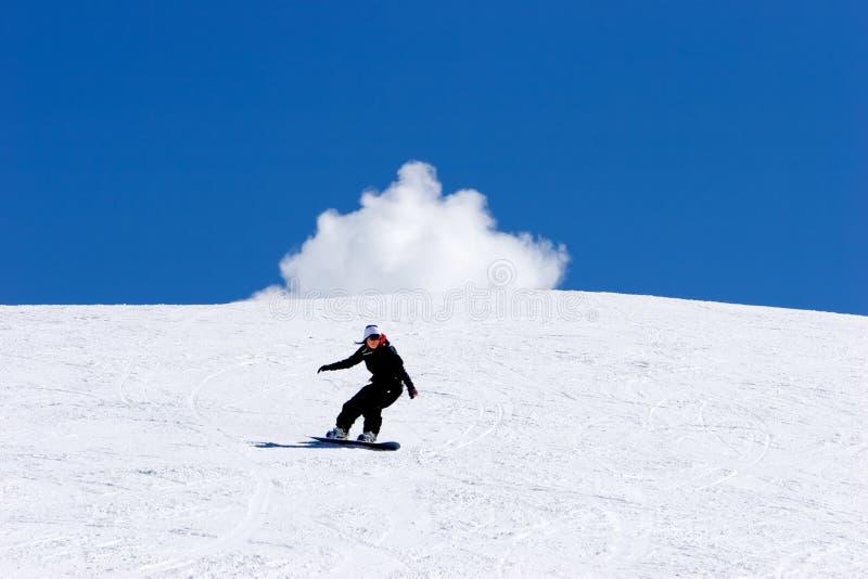 Snowboarding da mulher em inclinações da estância de esqui de Pradollano em Spain fotografia de stock royalty free