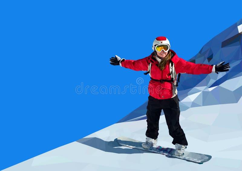 Snowboarding de jeune femme sur la montagne photographie stock libre de droits