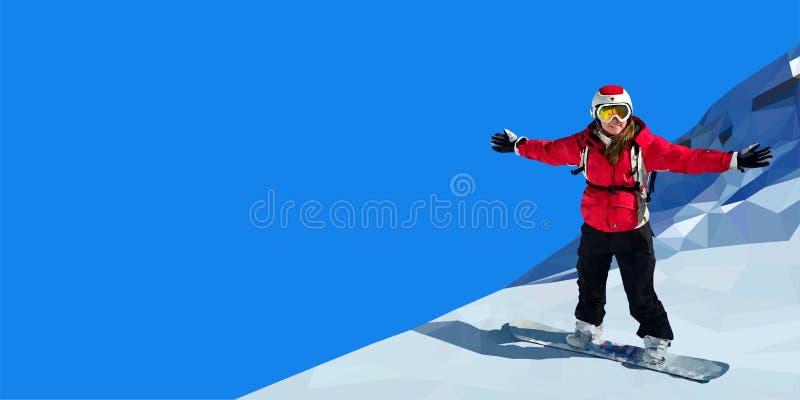 Snowboarding de jeune femme sur la montagne images stock