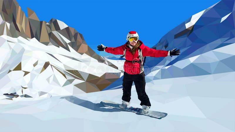 Snowboarding de jeune femme sur la montagne photographie stock