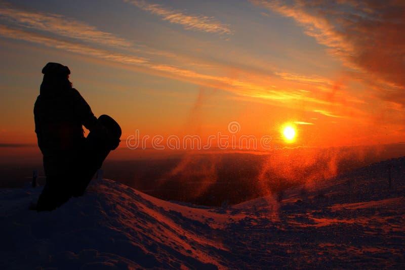 Snowboarding de Pyhätunturi photos libres de droits