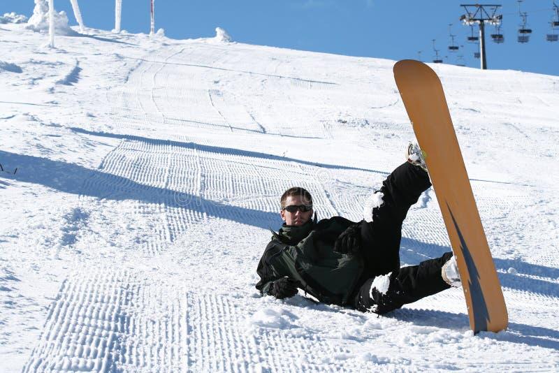 Snowboarding de saison de l'hiver photo libre de droits