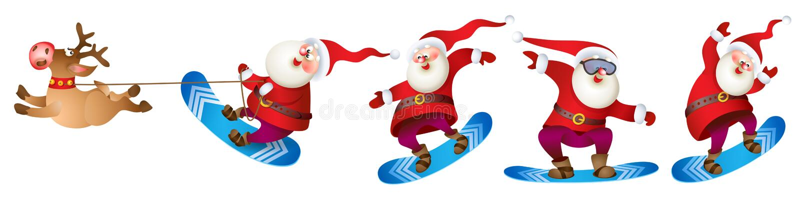 Snowboarding de Santa com rena ilustração royalty free