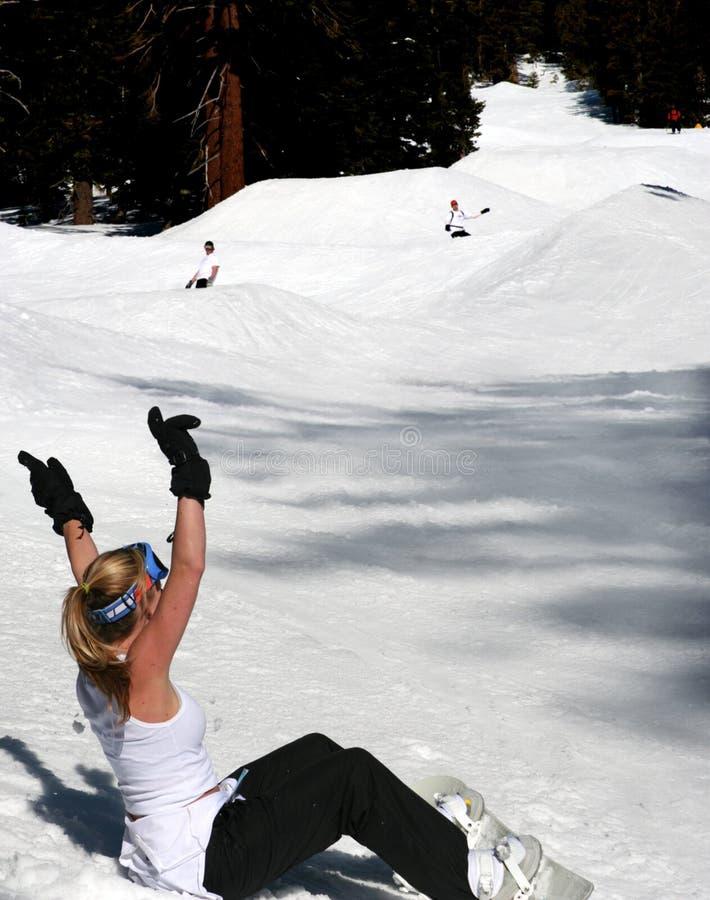 Snowboarding do divertimento foto de stock royalty free