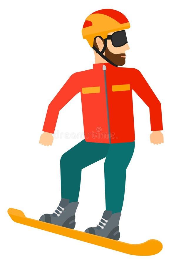 Snowboarding do homem novo ilustração royalty free