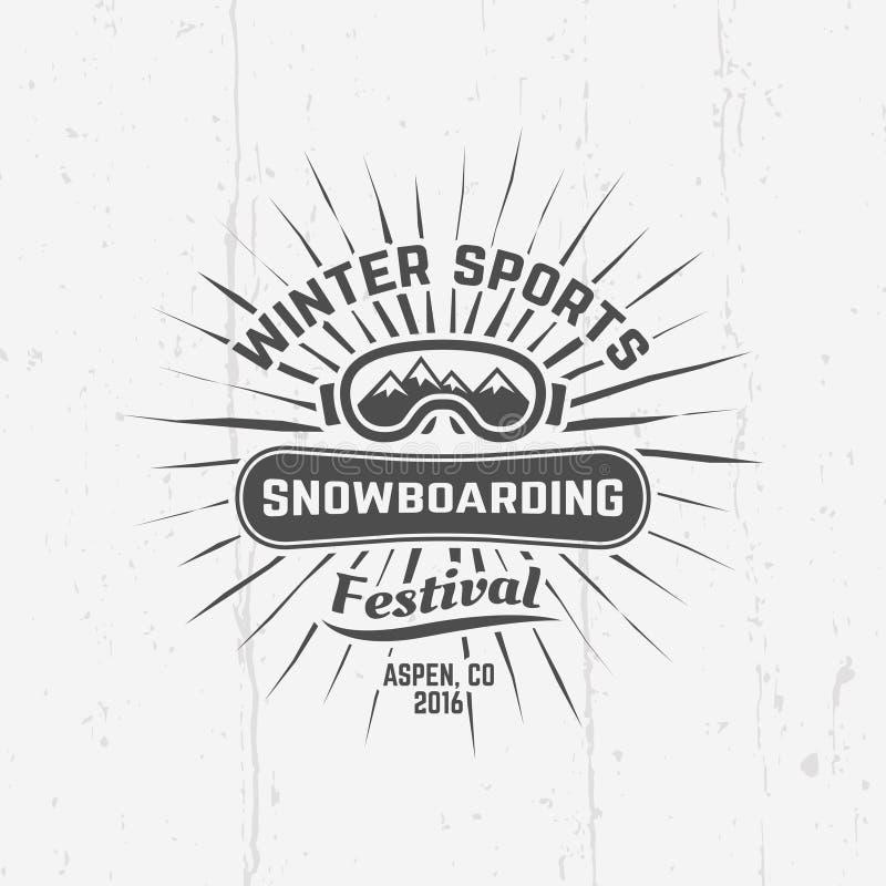 Snowboarding, emblème de noir de vecteur de sports d'hiver illustration stock