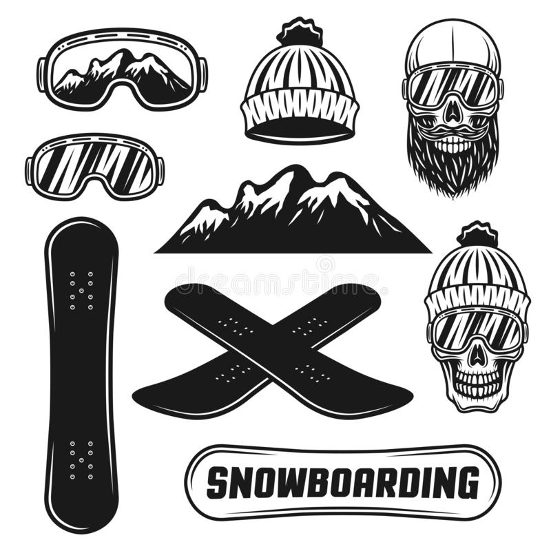Free Snowboarding Equipment Set Of Vector Objects Royalty Free Stock Images - 130768029